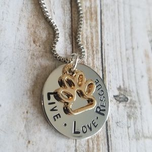 LOVE LOVE RESCUE Stamped Necklace